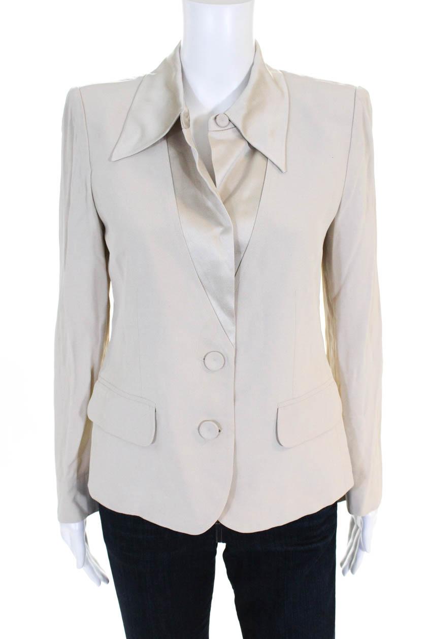 b48e567594 Sonia Rykiel Womens Long Sleeve Satin Trim Blazer Ivory Size 40 ...