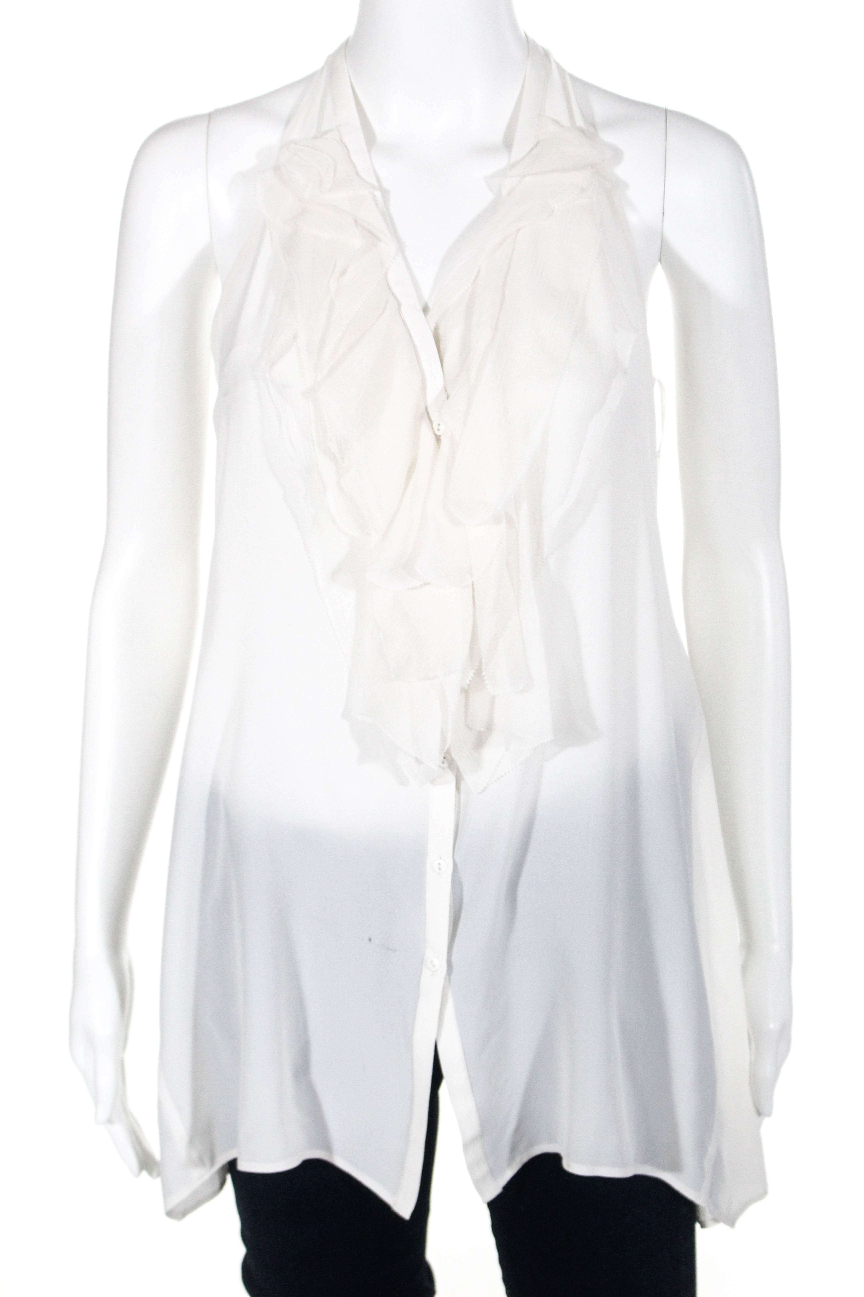 aef5041c96bb02 Vince Womens Sleeveless Button Down Ruffle Blouse Top Beige White Silk Size  XS