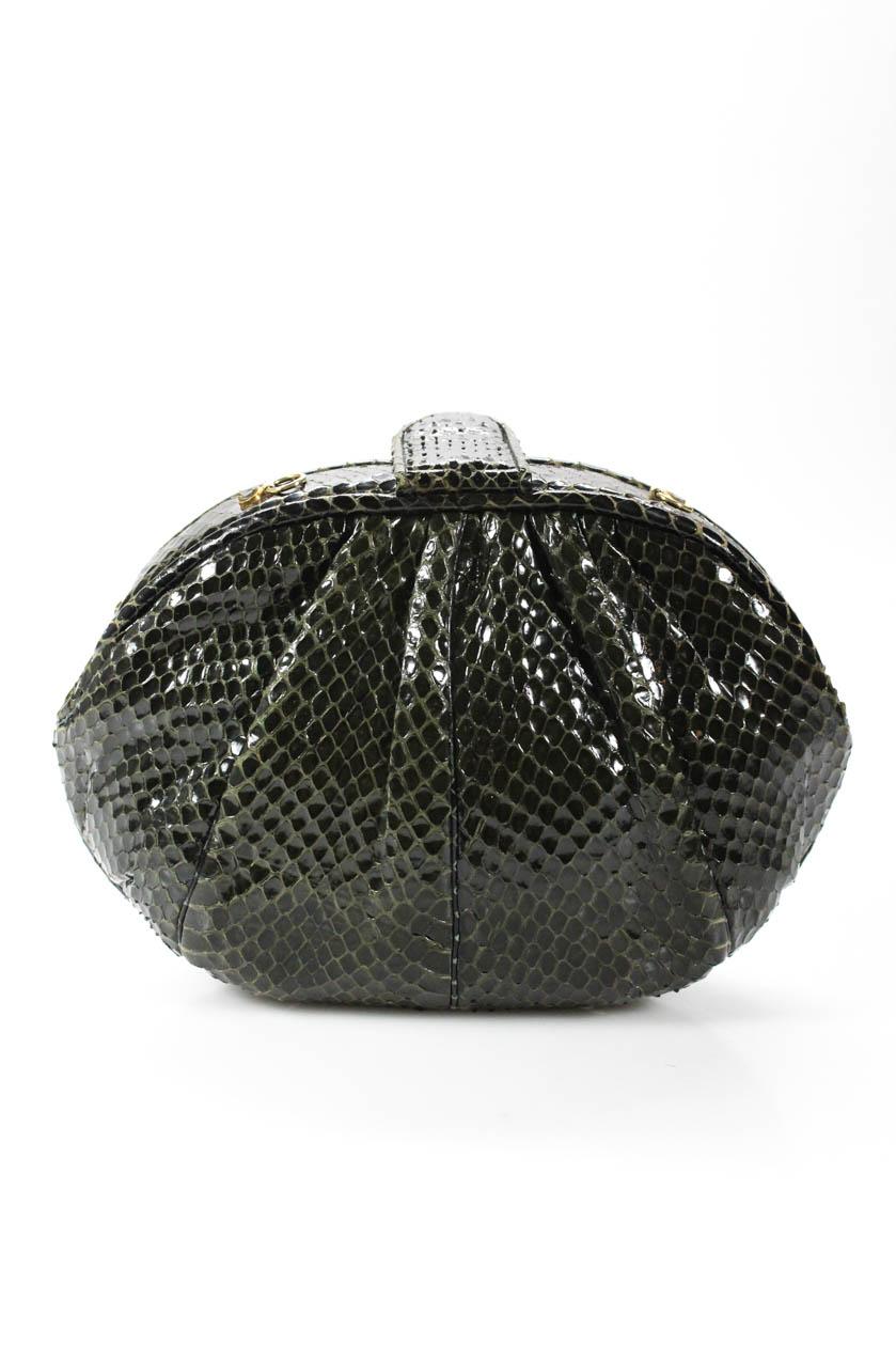 95b418326e36 Details about Judith Leiber Womens Clutch Crossbody Handbag Green Python  Snakeskin