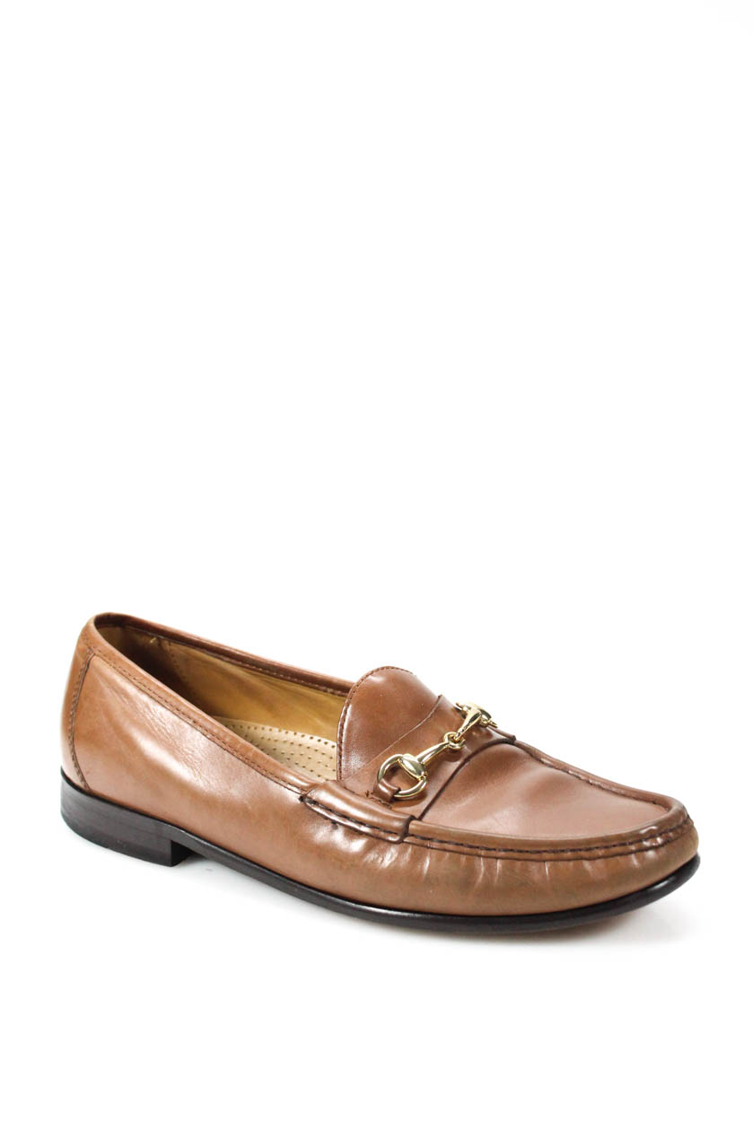 98e3b33fae8 Cole Haan Mens Loafers Tan Gold Tone Hardware Leather Size 9