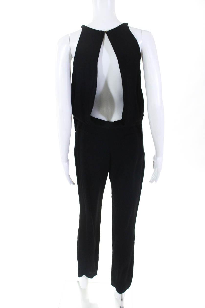 Alc Womens Sleeveless Skinny Leg Jumpsuit Black Cut Out Size 2 Ebay