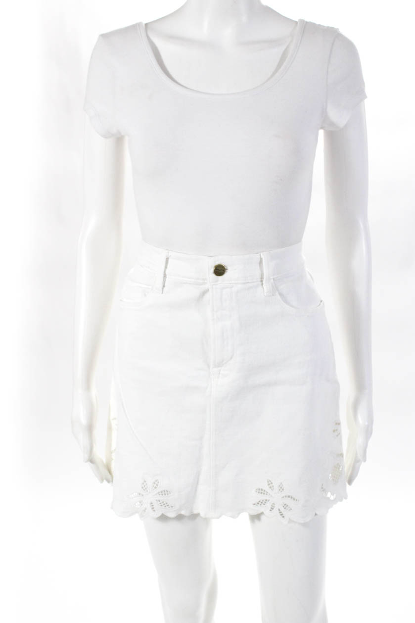 19fdca91bb8 Details about Frame Denim Womens Embroidered Denim A-Line Skirt White  Cotton Size 29
