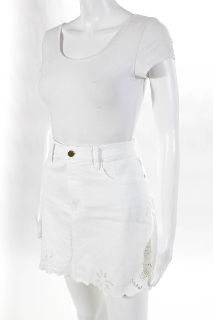 680454bc2c9 Frame Denim Womens Embroidered Denim A-Line Skirt White Cotton Size ...