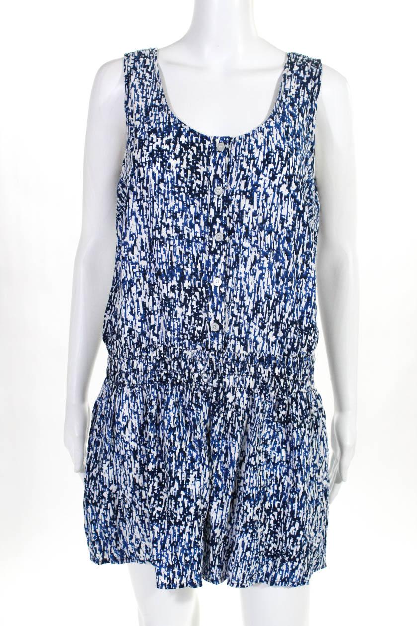 8d8d03171e1c7 Splendid Womens Sleeveless Romper Jumpsuit Blue White Abstract Size ...