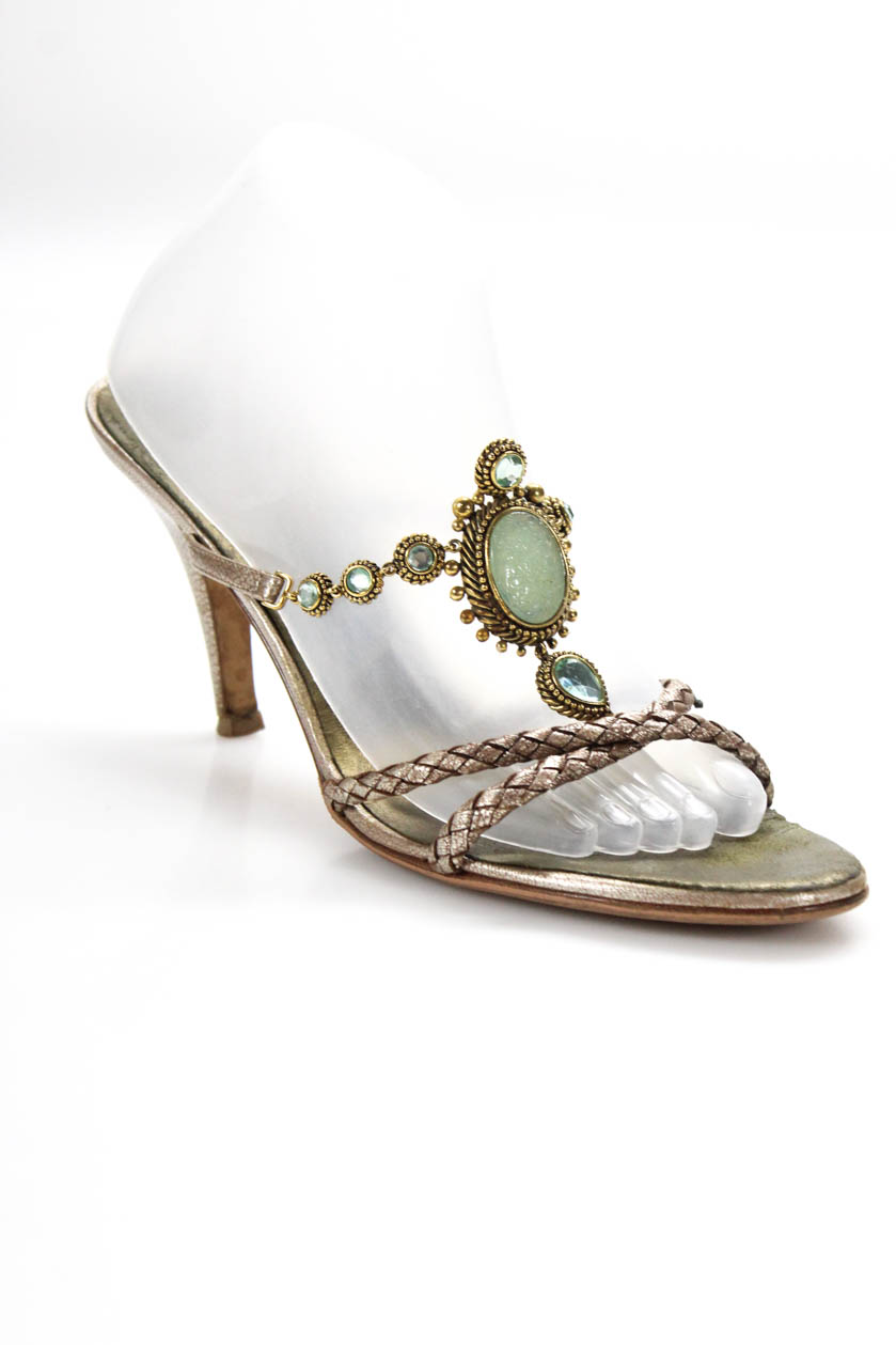 623ced40a Details about Giuseppe Zanotti Design Womens Woven Jeweled Strap Sandals  Silver Leather 41
