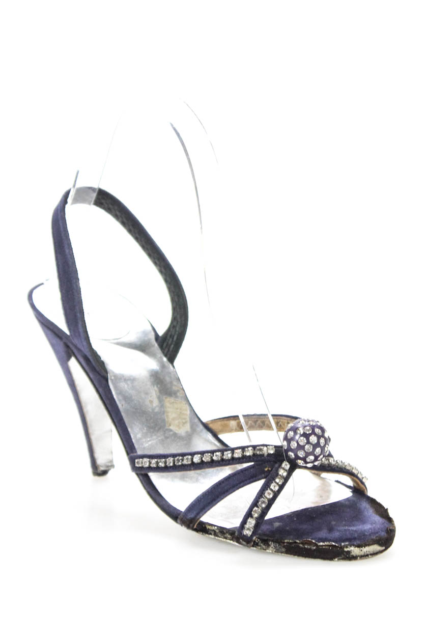 d6a2433411d Christian Dior Womens High Heel Slingback Sandals Purple Jeweled Size 6