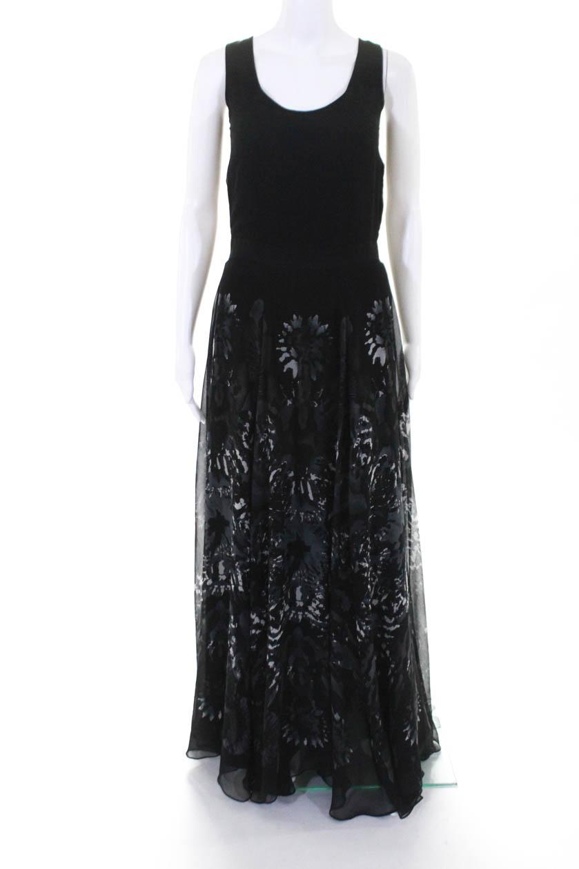 b853b0bf8328 Adam Adam Lippes Womens Silk Chiffon Floral Sleeveless Maxi Dress Black Size  2