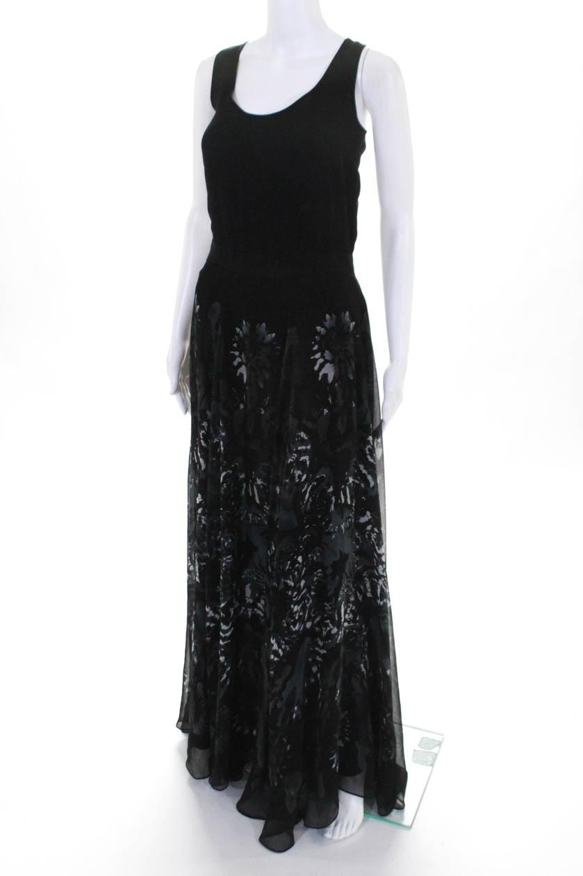 09b2116306b1 Adam Adam Lippes Womens Silk Chiffon Floral Sleeveless Maxi Dress ...