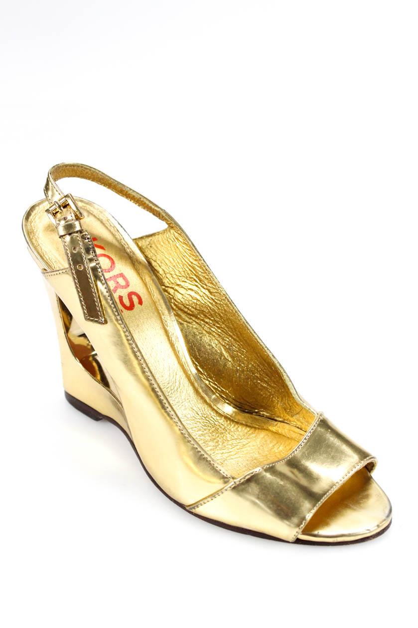 82c0654a43bdbe Details about Michael Michael Kors Womens Cut Out Slingback Sandals Gold  Patent Leather 7.5