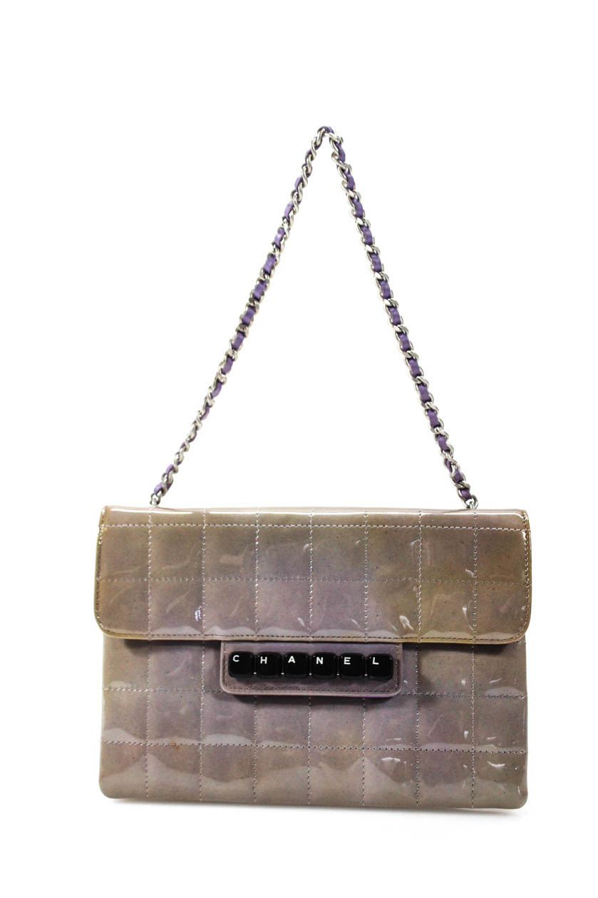 ce66dd0f Details about Chanel Womens Keyboard Chocolate Bar Flap Clutch Handbag  Purple Patent Leather