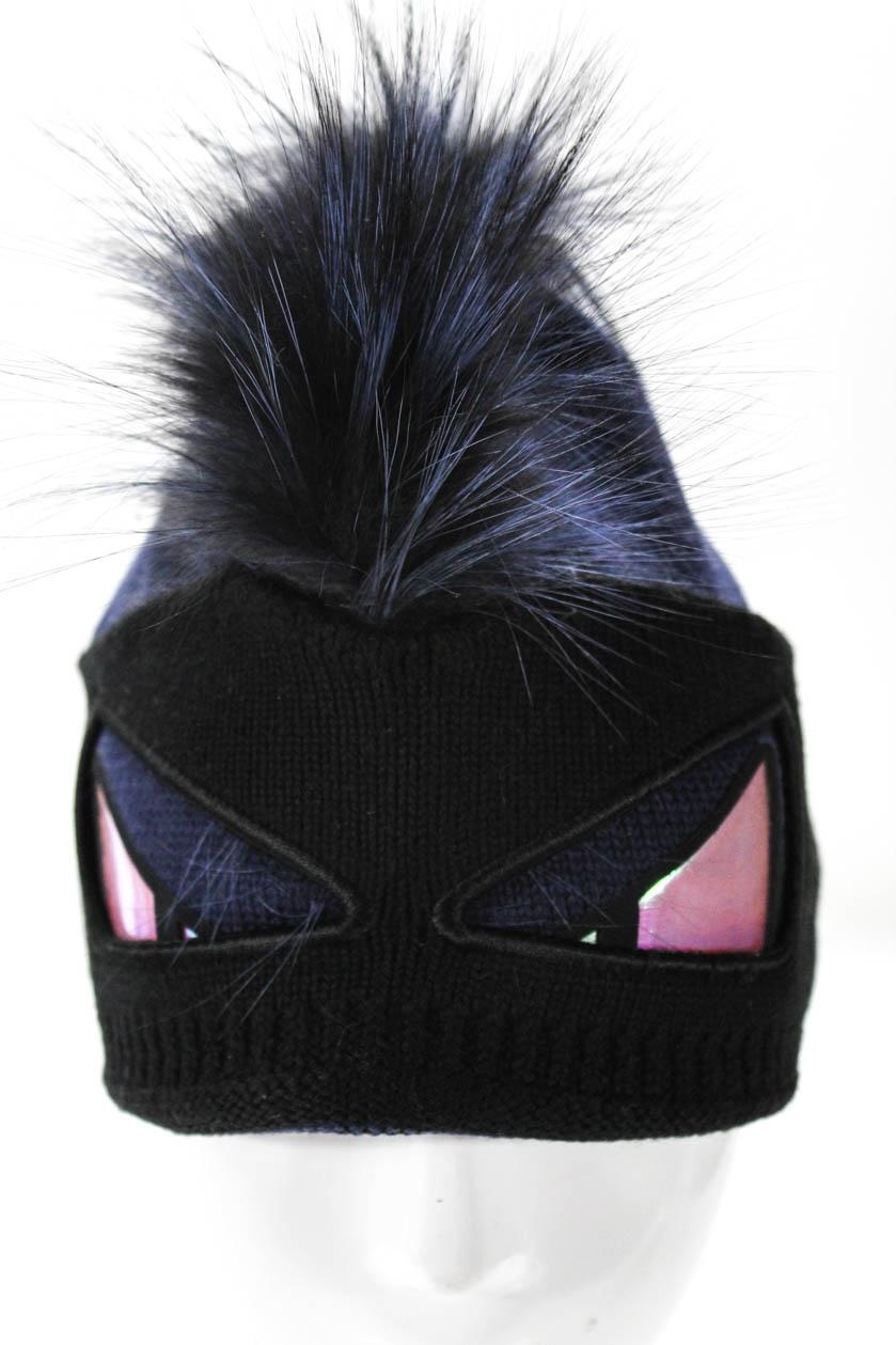 914d4051a1c84 Fendi Womens Fur Trim Navy Blue Black Beanie Hat