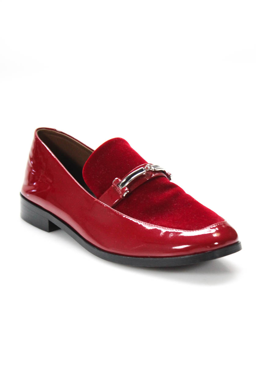 a06ba0031ef Details about NewbarK Womens Melanie Loafers Red Patent Calf Leather Velvet  Size 7.5