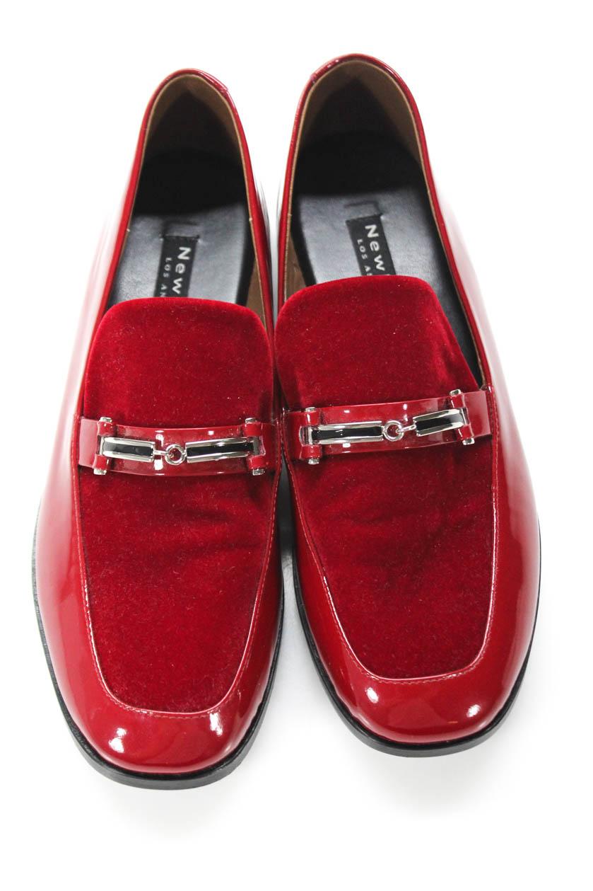 122638c19b2 NewbarK Womens Melanie Loafers Red Patent Calf Leather Velvet Size ...