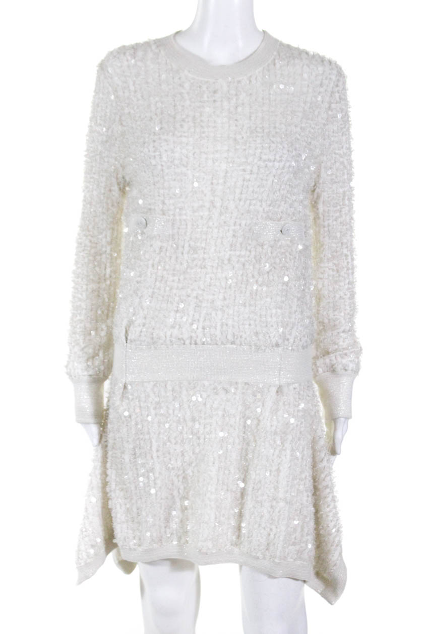 8702177e7 Chanel Womens Angora Silk Sequin Slouchy Sweater Dress White Size 34 ...