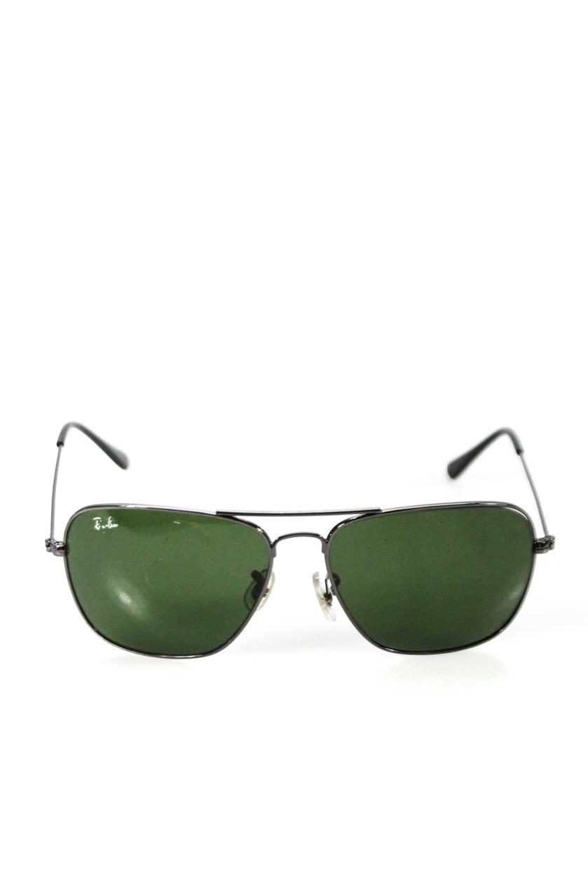 45df73298f Ray Ban Unisex Metal Frame Aviator Style Sunglasses Silver Tone Green Lens