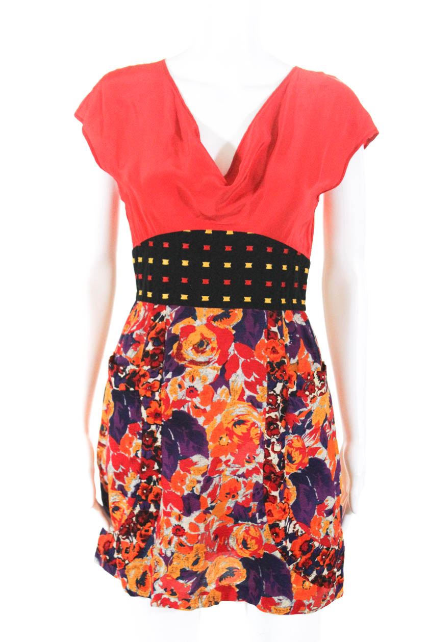73c8d714a229 Details about Frock By Tracy Reese Womens Silk Linen Cap Sleeve Floral Mini  Dress Red Size 2