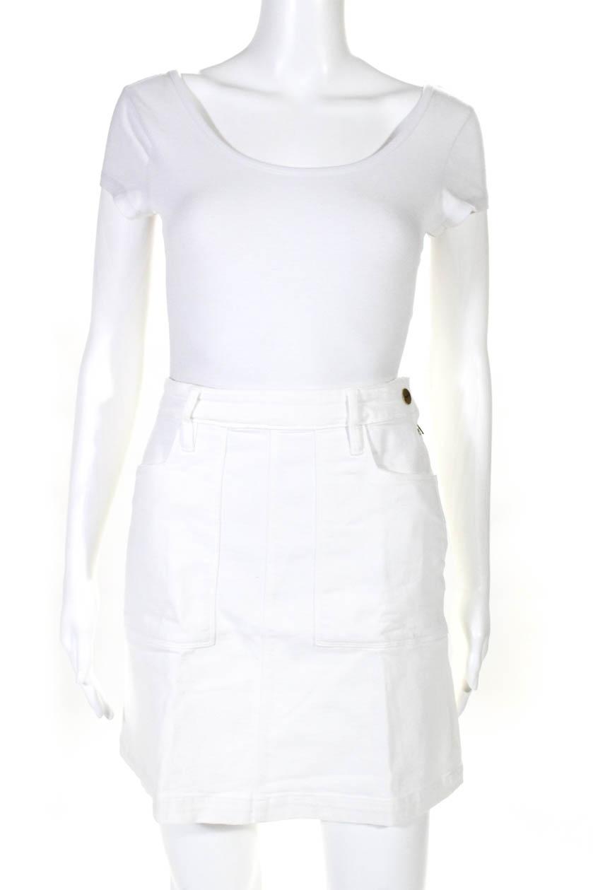 70636ccfd74 Frame Denim Women s A-Line Denim Skirt Snap Closure Cotton White ...