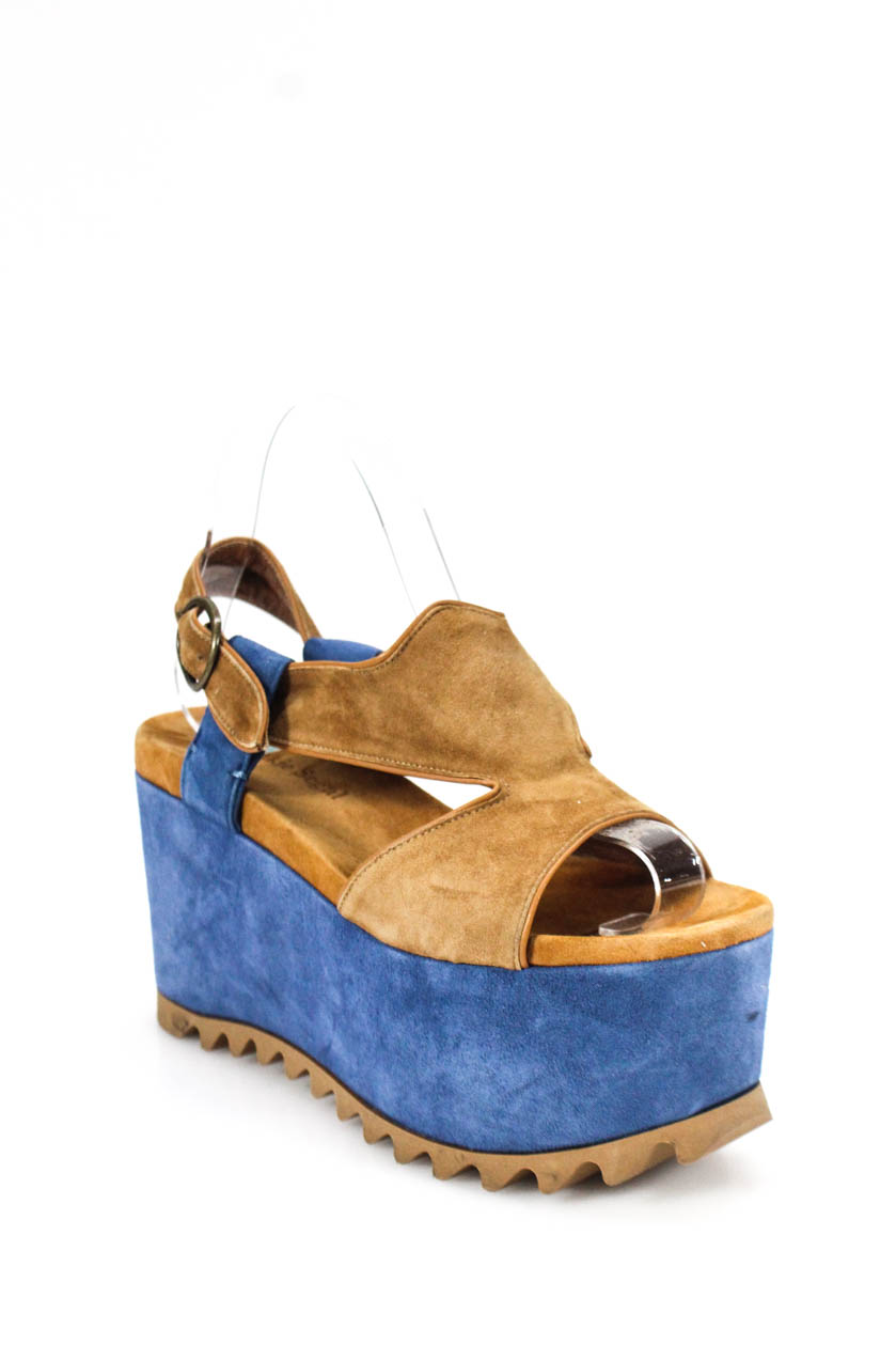 24e10b516551 Details about Frankie Segal Womens Ankle Strap Wedges Sandals Brown Blue  Suede Size 37 7