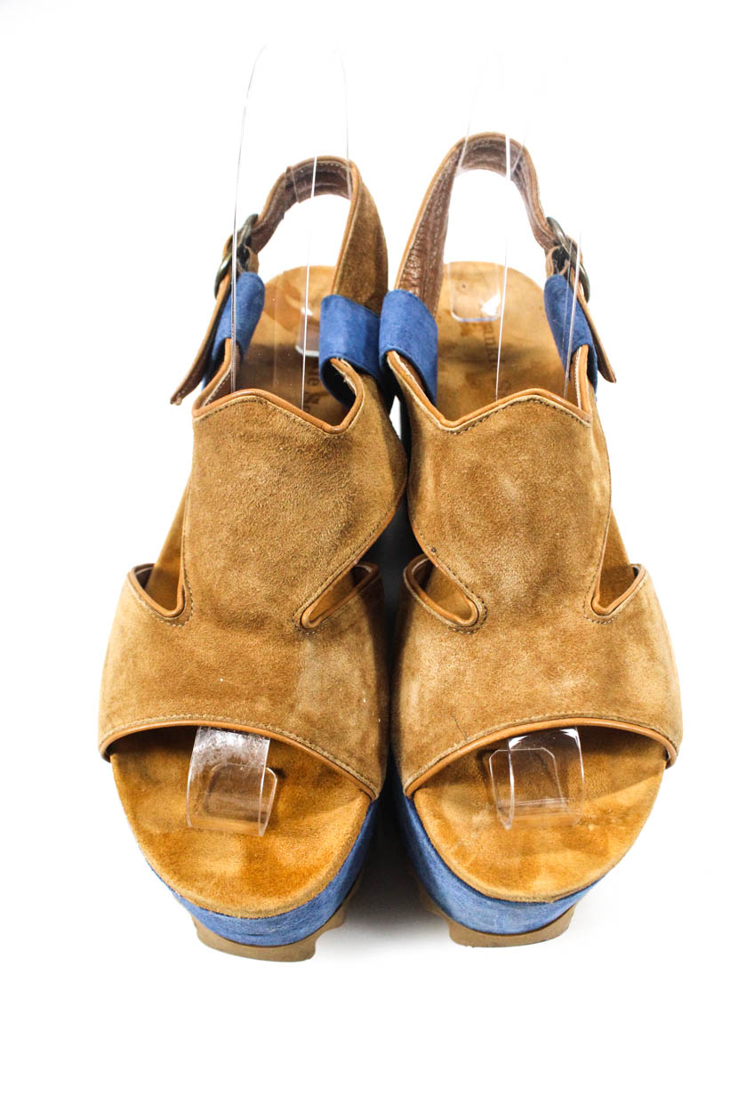 4b110f8a5a50 Frankie Segal Womens Ankle Strap Wedges Sandals Brown Blue Suede ...