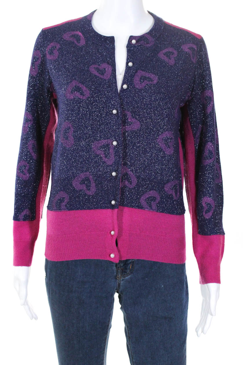62c1c132ad39 Details about Marc By Marc Jacobs Womens Crew Neck Heart Sweater Cardigan  Purple Wool Size M