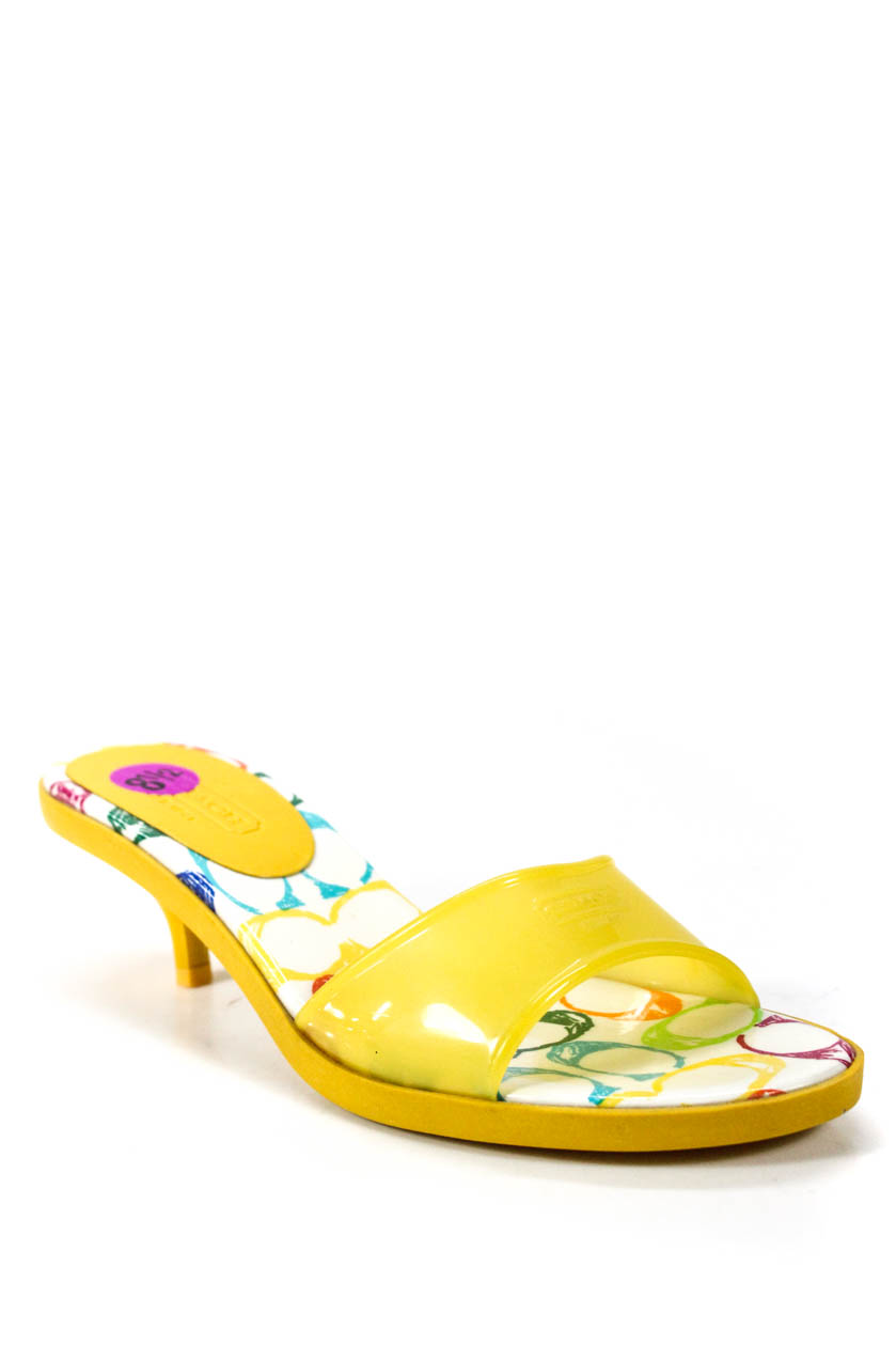 46af2bb582a2b0 Details about Coach Womens Slip On Low Heel Sandals Yellow Rubber Size 8.5
