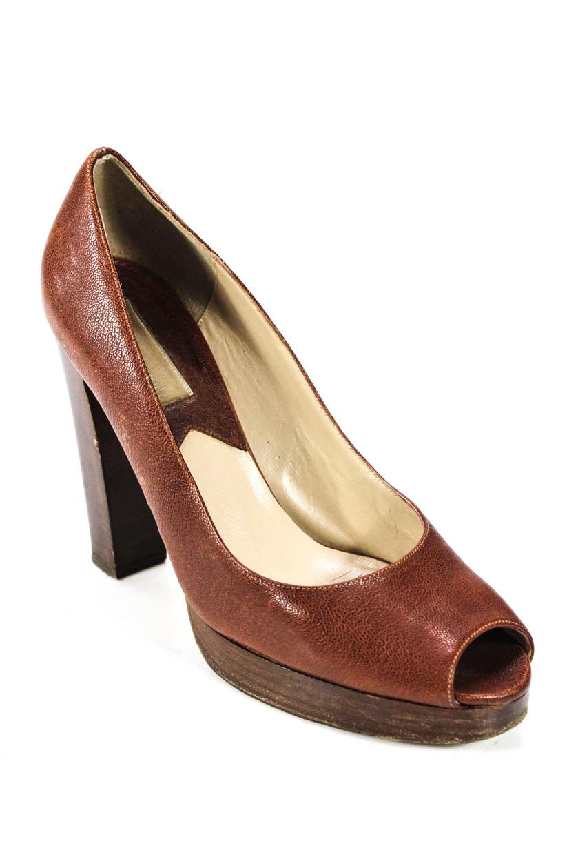 9c14419b41d7 Michael Kors Womens Leather Peep Toe Classic Block Heel Pumps Brown ...