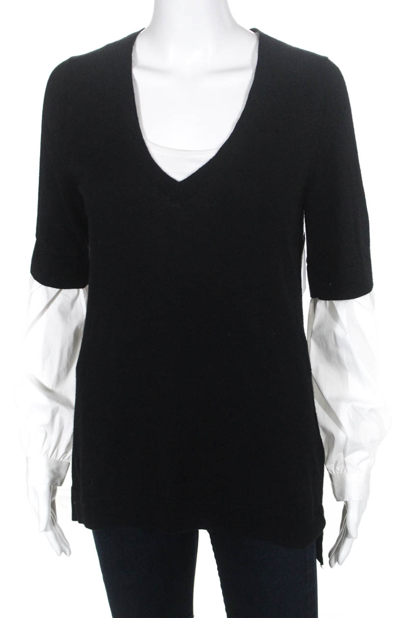 Trouve Womens Contrast Sleeve V-Neck Sweater Black White Size Extra Small c48980673