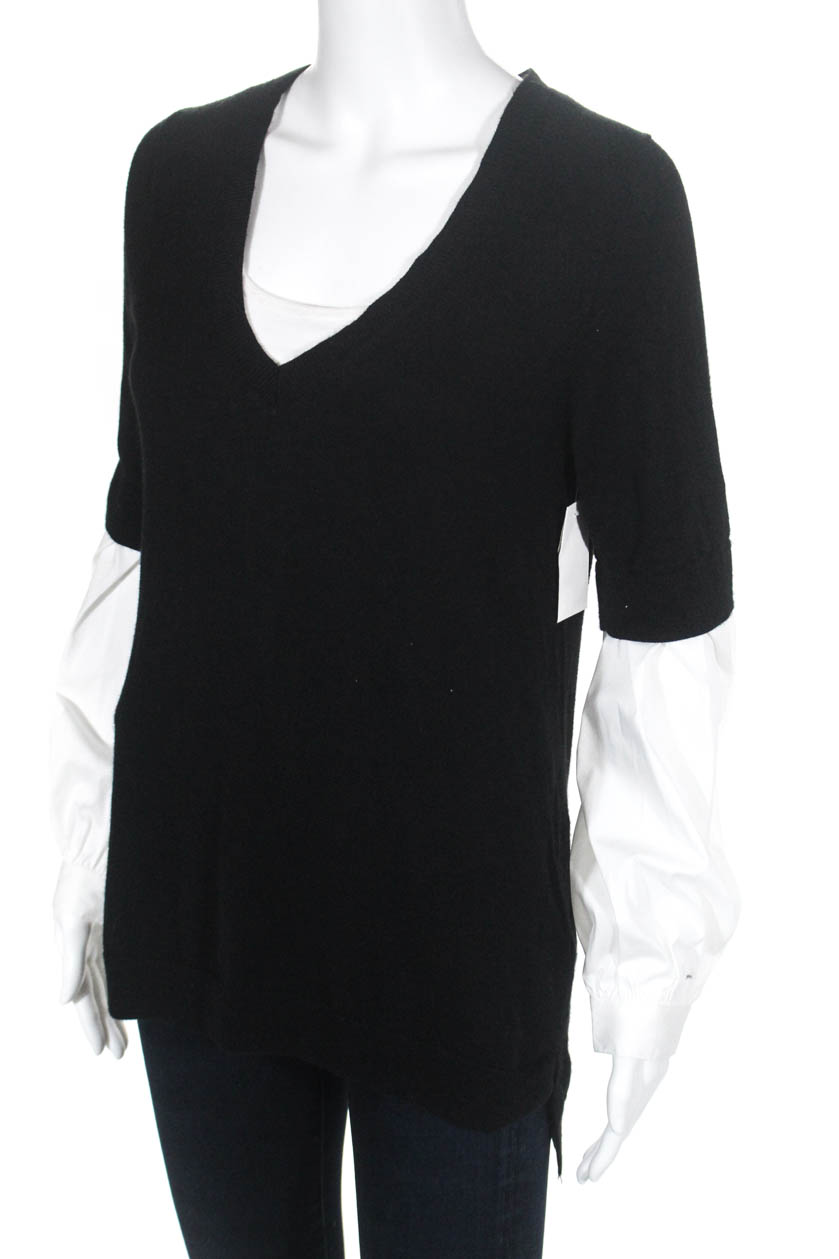 Details about Trouve Womens Contrast Sleeve V-Neck Sweater Black White Size  Extra Small 2b553cfe4