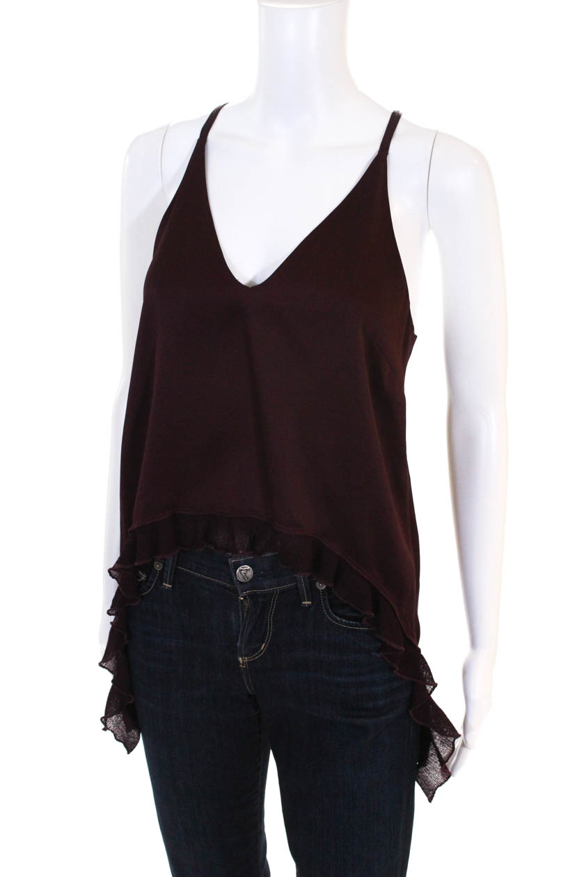 fa2ebea2c76 Details about Elizabeth and James Womens Maroon Manette Top V-Neck Tank Top  Size S 10620190