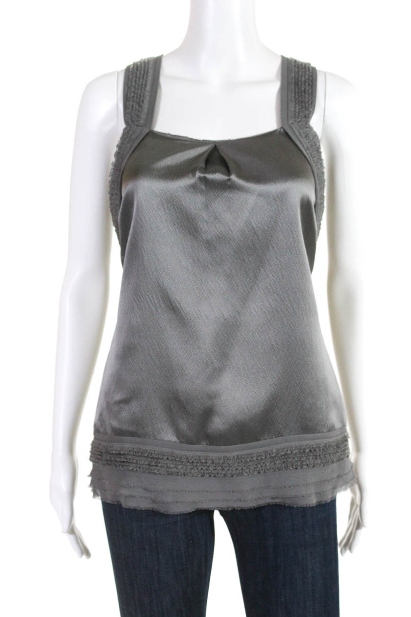 b3174caecdbb39 Details about Juicy Couture Womens Sleeveless Scoop Neck Silk Blouse Top  Gray Size 2