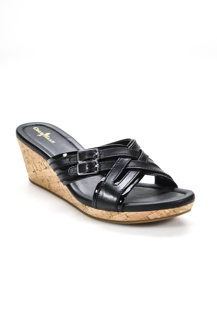 fb3d757cdb5d Cole Haan Womens Cork Platform Wedge Leather Mule Sandals Black Size ...
