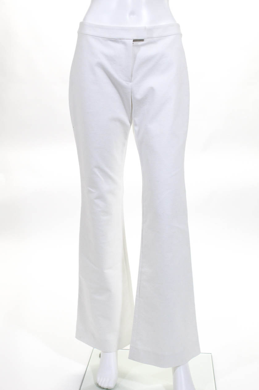 9d1f5ccaa5a4 10 Crosby Derek Lam Womens Flat Front Flare Leg Pants White Cotton Size 2