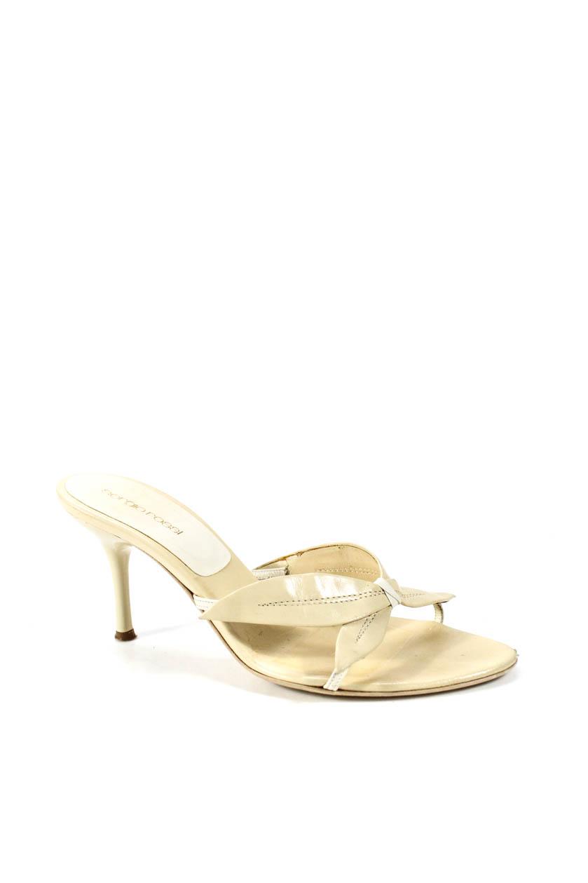 1a38dedc6bbe6b Details about Sergio Rossi Women s Slip On Open Toe Mule Sandals Leather  Beige Size 38 8
