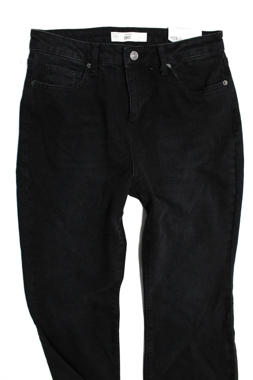7032916b9bd Topshop Moto Womens Dree Cropped Kick Flare Jeans Black Denim Size ...