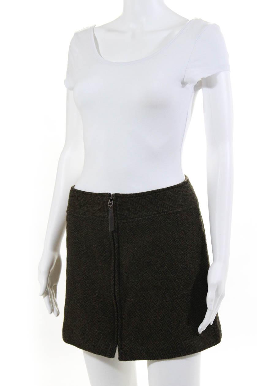 f472a76e83 Kookai Womens Herringbone Print Front Zipper Mini Skirt Green Wool ...