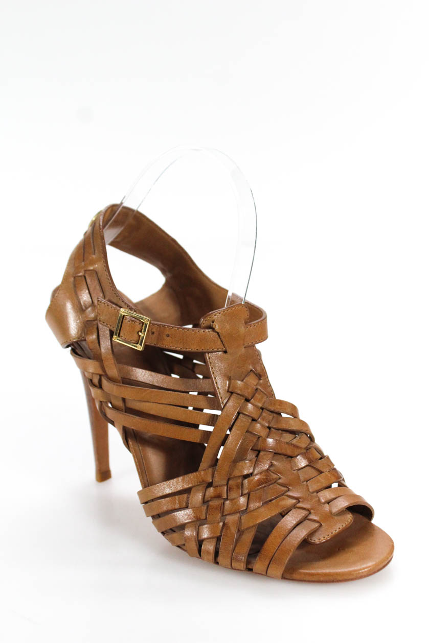85f4643ea8be3 Details about Tory Burch Womens High Heel Strappy Sandals Brown Size 9
