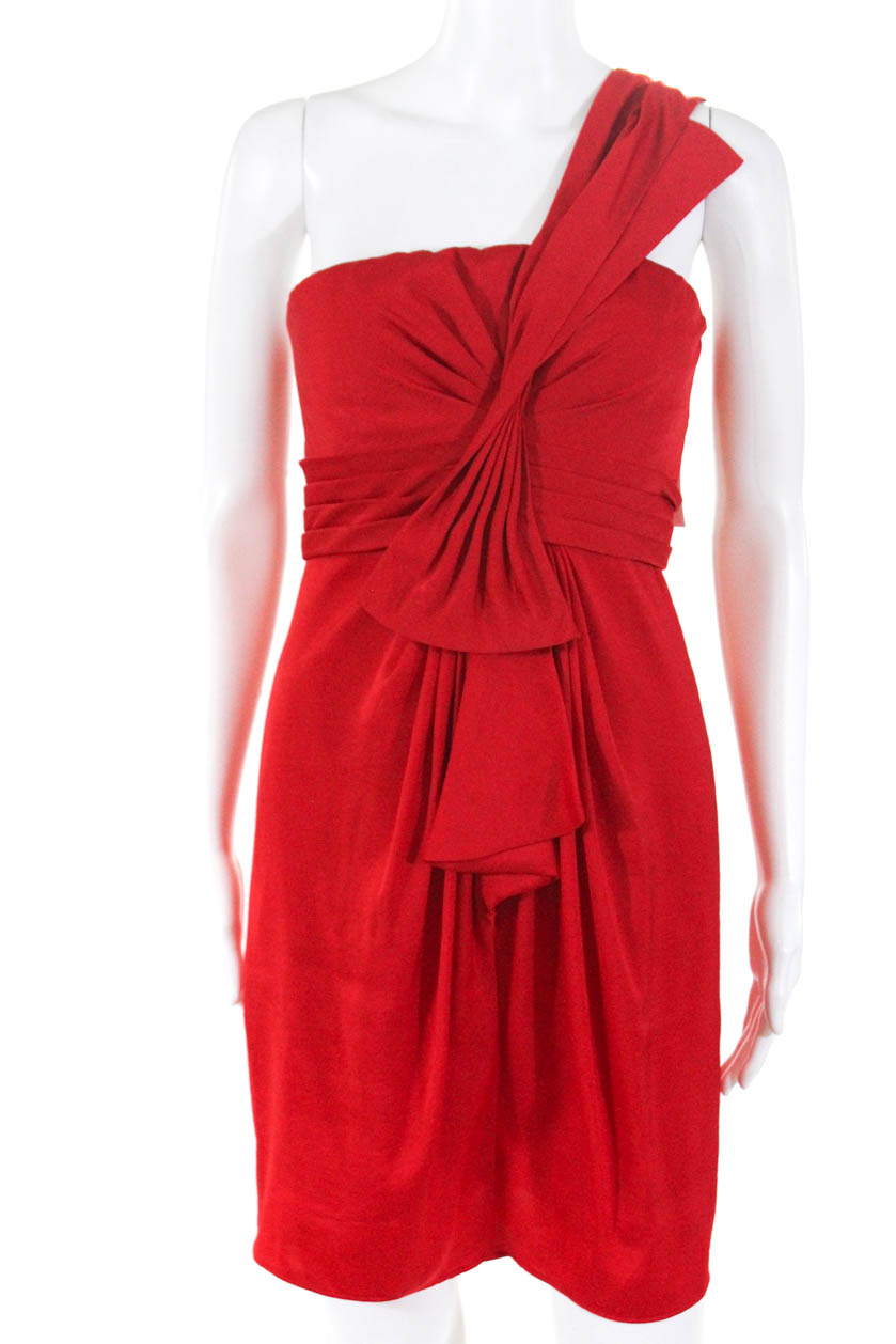 7b15888fbf77 Details about BCBGMAXAZRIA Womens One Shoulder A-Line Above Knee Cocktail  Dress Red Size 2