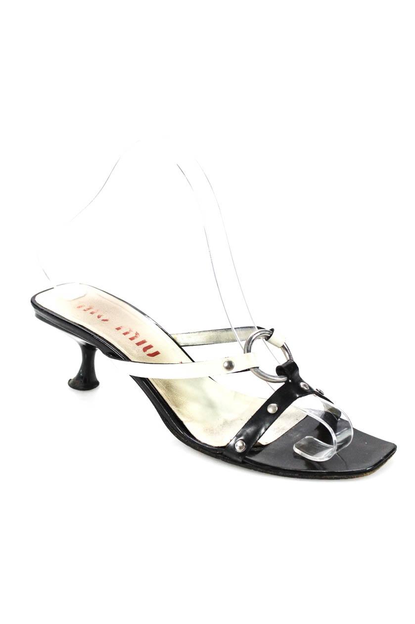22c356e212ca Miu Miu Womens Open Toe Silver Tone Hardware Slide Kitten Heel ...