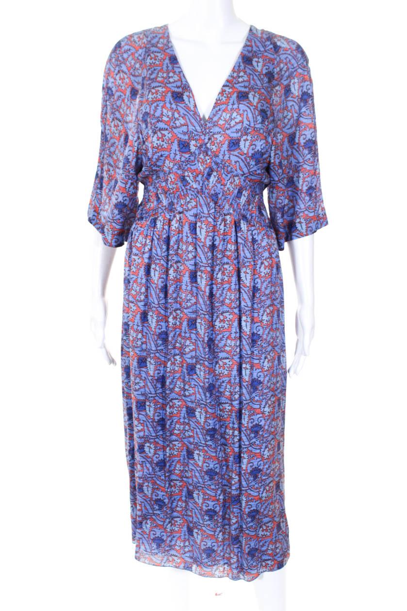 359b1bad3e691 Tory Burch Womens Floral Corinne Caftan Maxi Dress Blue Orange Size 4  10336798