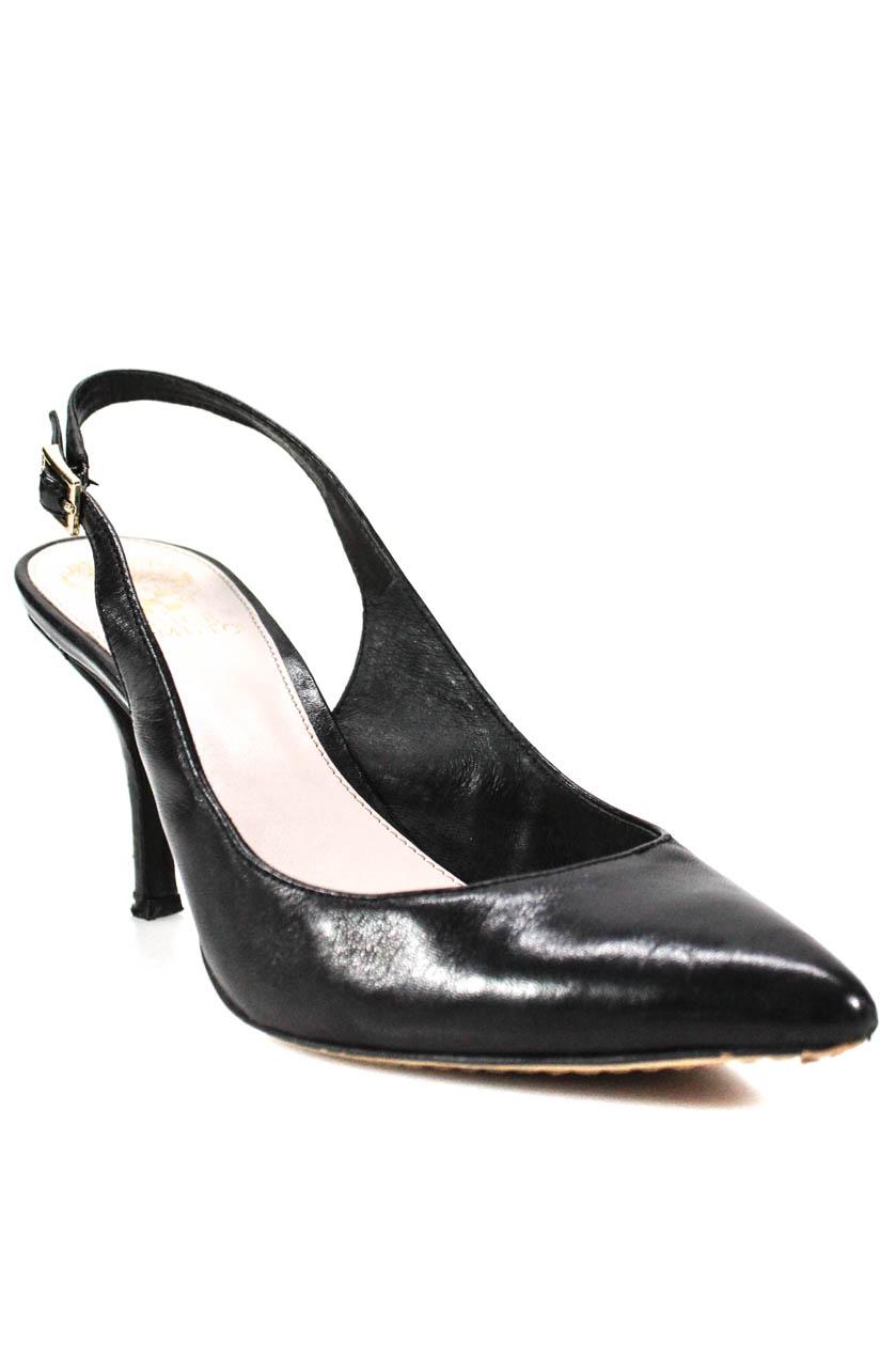 763c46dfa508 Vince Camuto Womens Leather Stefania Slingbacks Pumps Black Size 8.5 Medium