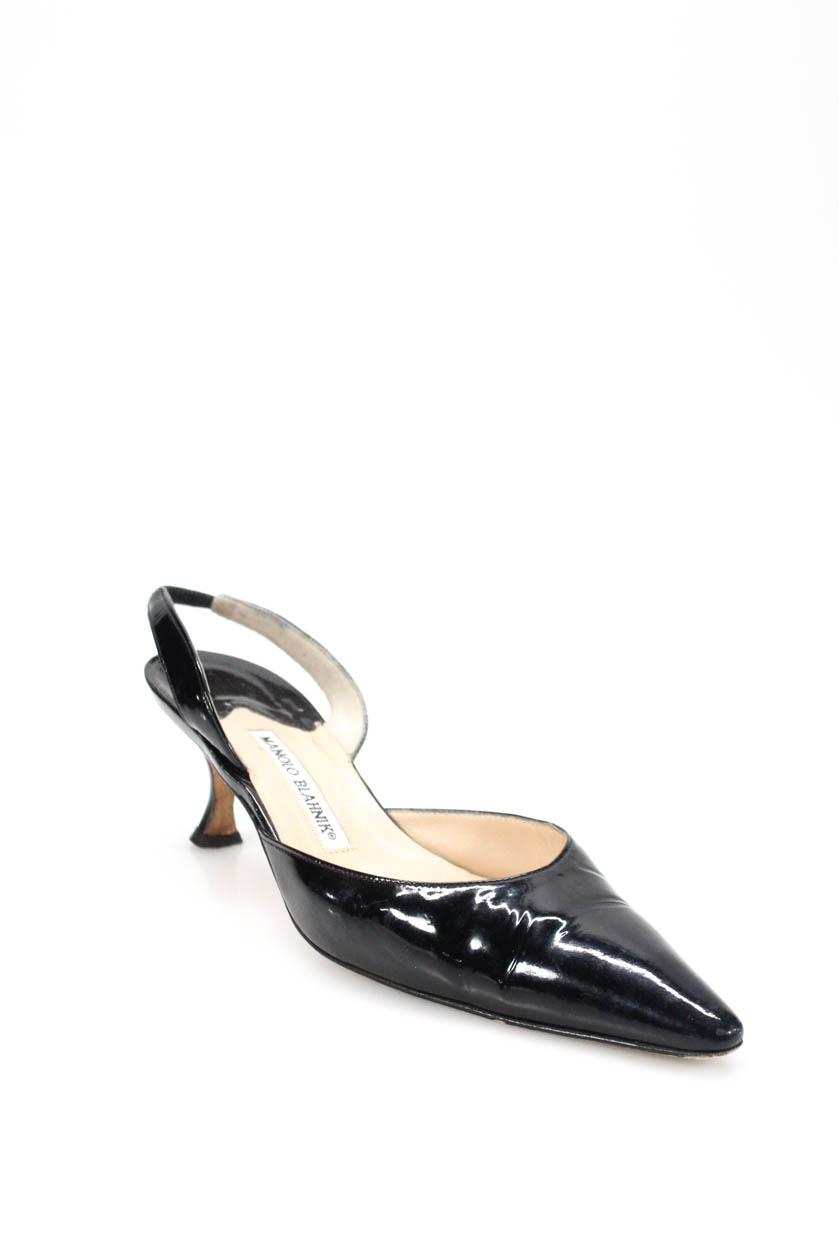 Manolo Blahnik Womens Pointed Toe Slingbacks Black Patent Leather Size  38.5