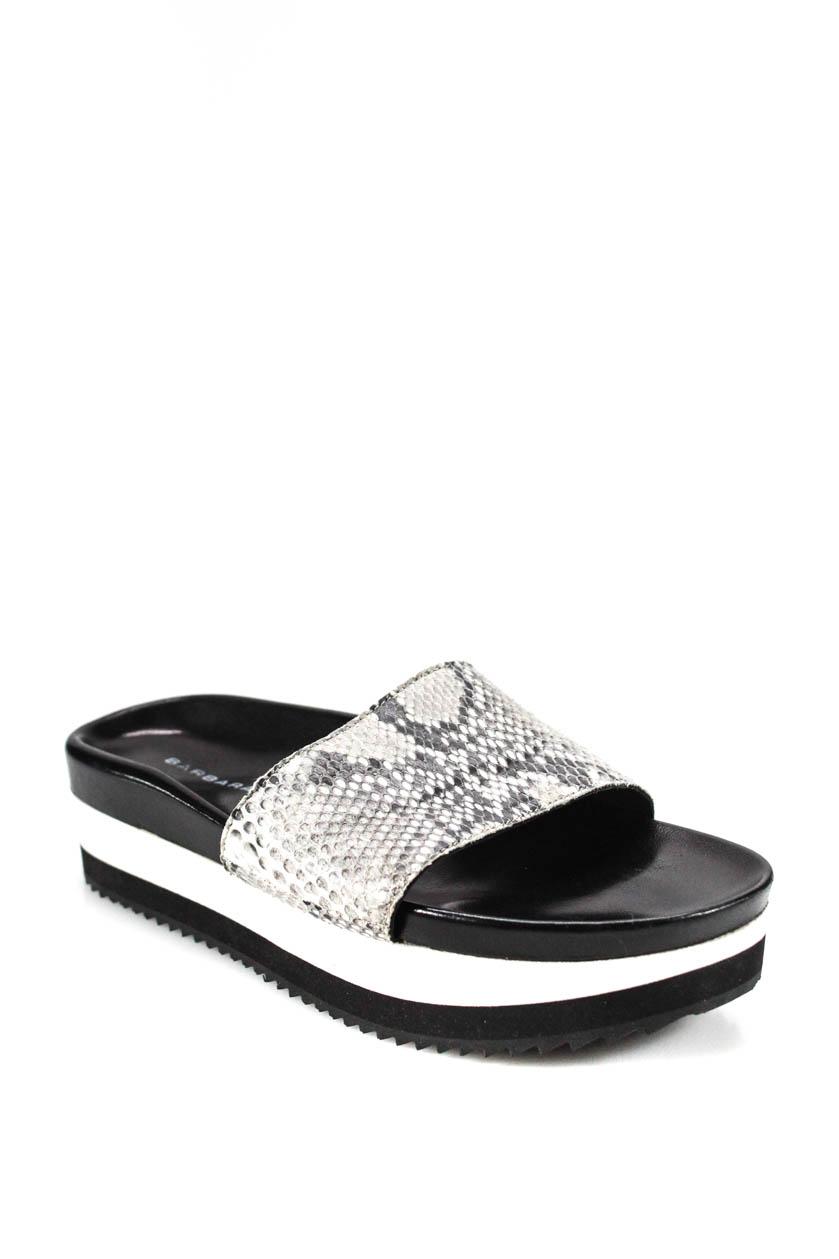 34206a582e27 Barbara Bui Womens Platform Snake Skin Slides Gray Black Size Italian 37 7