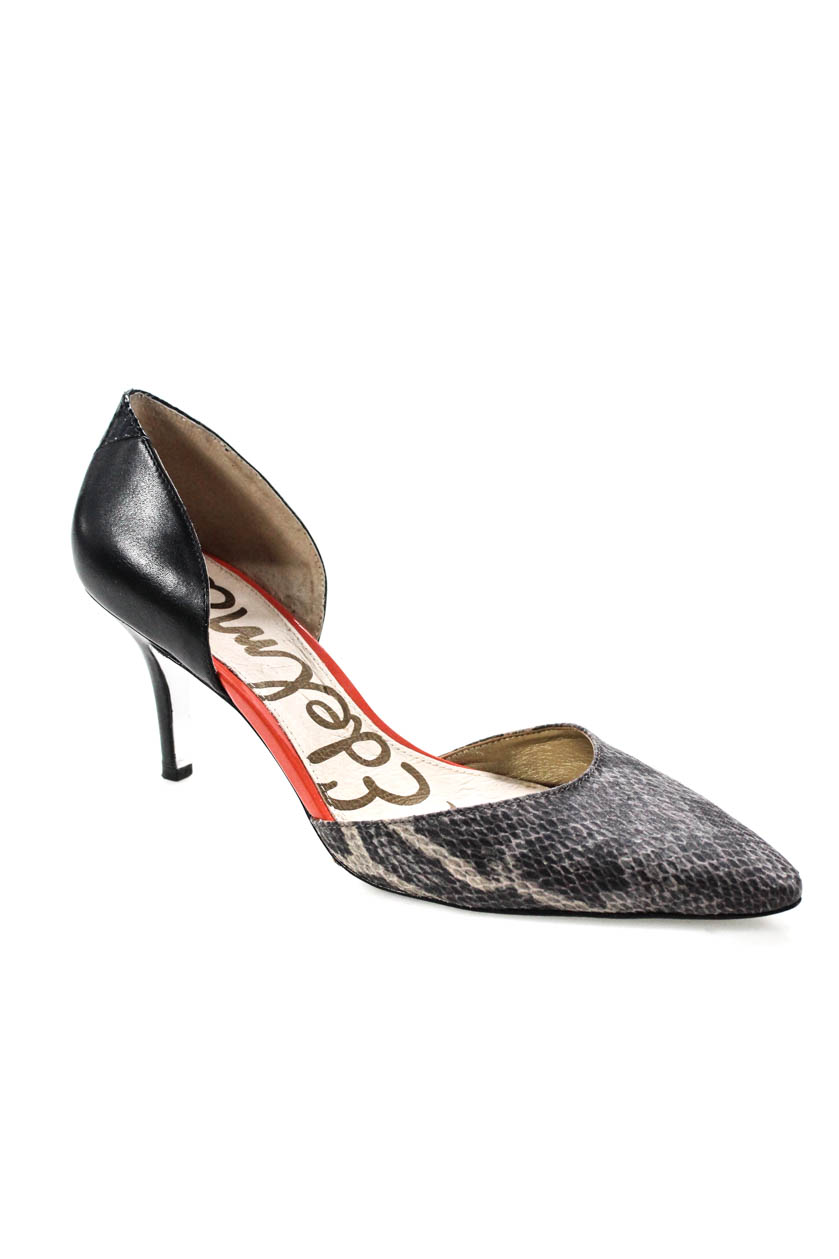 d6c8cd773 Details about Sam Edelman Womens Snakeskin Print Pumps Gray Black Leather  Size 38.5 8.5