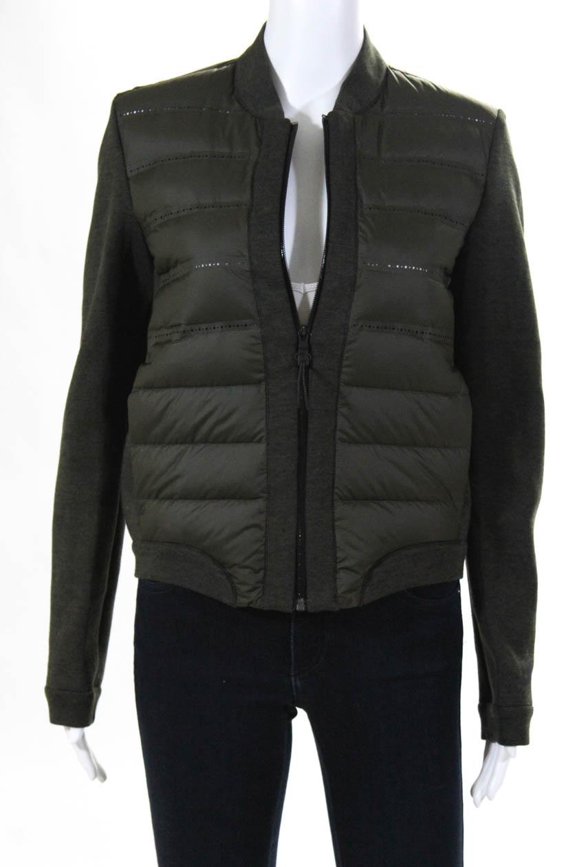 Nike Womens Long Sleeve Puffer Zip Up Jacket Army Green Size Medium ... 1d43e3c59