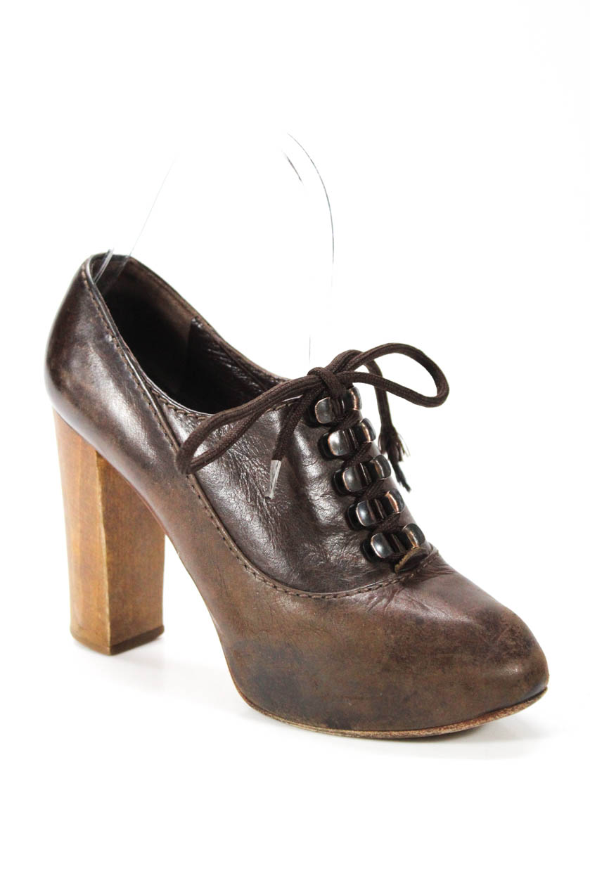 86f7c12eb00 Details about Chloe Womens Lace Up Block Heel Pumps Brown Leather Size 36