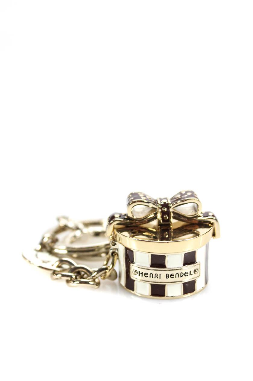 Henri Bendel Womens Present Keychain Gold Silver Tone Brown Resin  6a87faca27