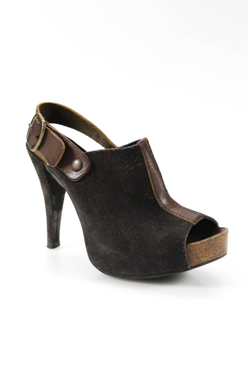 cc86922e4377 Pedro Garcia Womens Suede Open Toe Slingbacks Heels Dark Brown Size ...