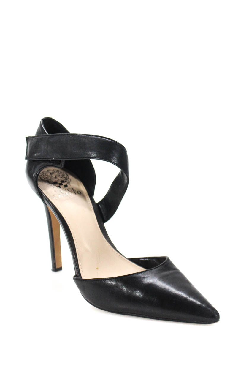c65912fa61b Details about Vince Camuto Womens Carlotte Ankle Strap Pumps Black Nappa  Leather Size 38.5 8.5