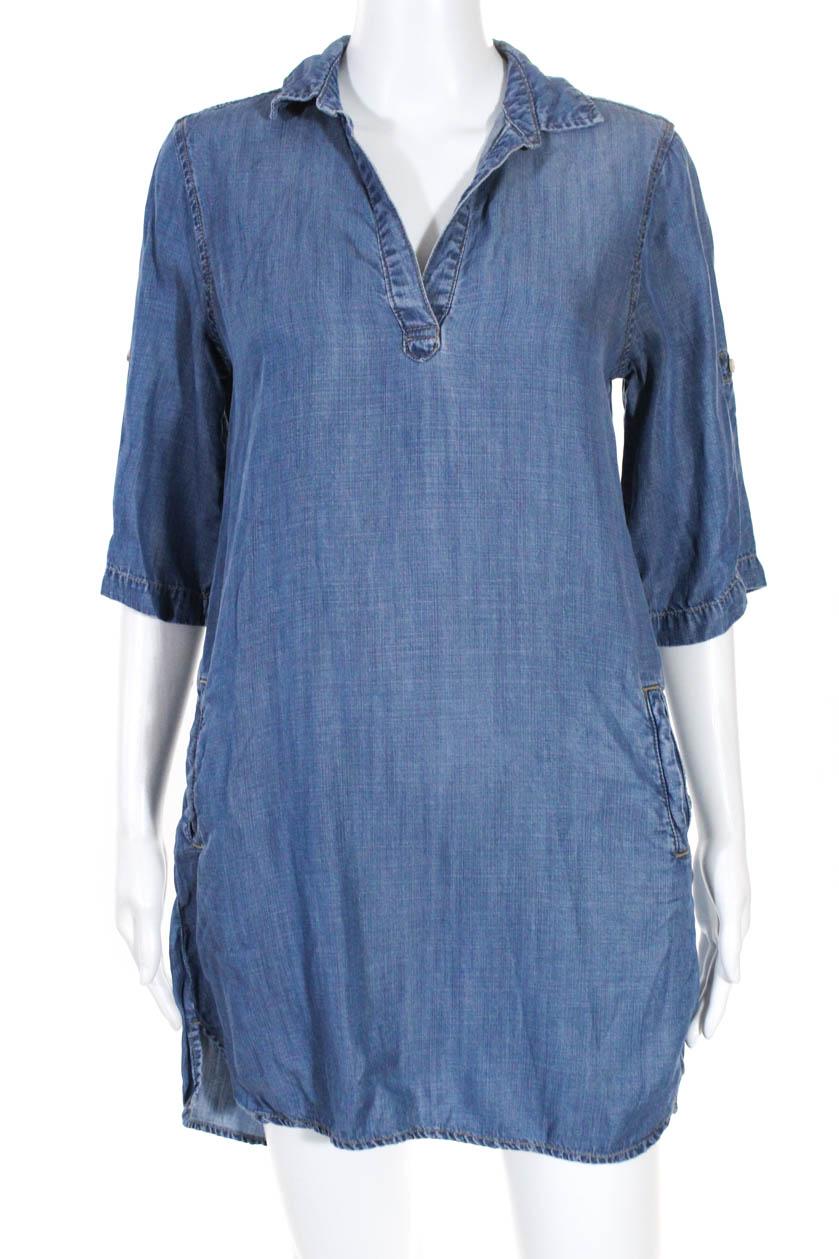 7967c65bbd54 Cloth and Stone Womens V- Neck 3/4 Sleeve Dress Denim Size Extra ...
