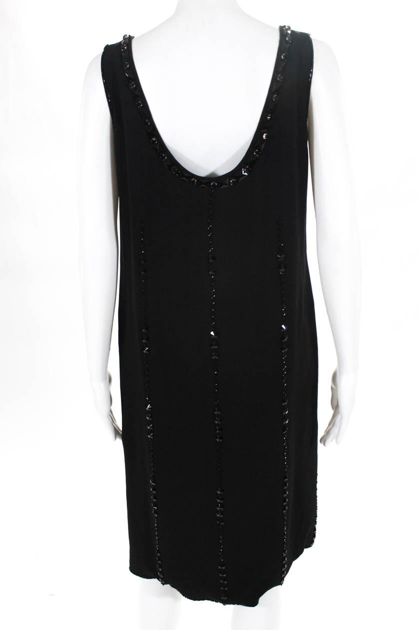 49d619f6f43 Prada Womens Sleeveless Scoop Neck Beaded Shift Dress Black Italian ...